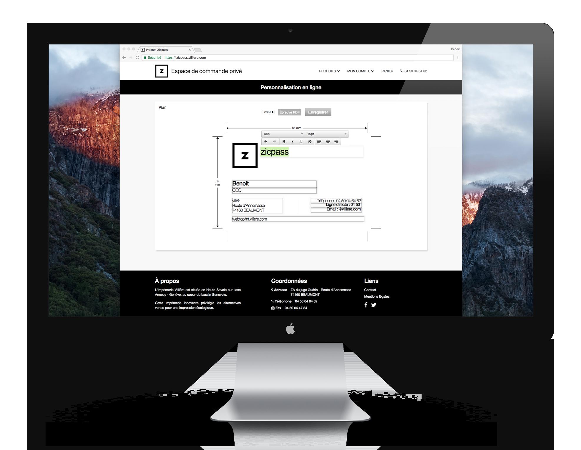 Interface de la solution web to print développée par la société villi®